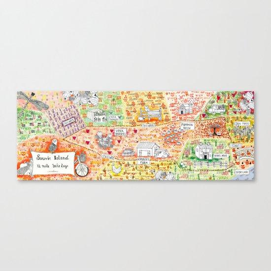 Sauvie Island Bike Loop Map Canvas Print