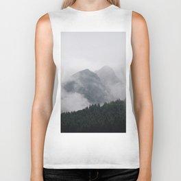 Minimalist Modern Photography Landscape Pine Forest Jagged High Grey Mountains Biker Tank