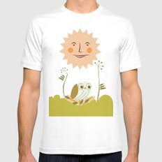 Owl sun Mens Fitted Tee MEDIUM White