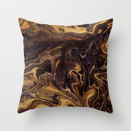 Chocolate and Gold Throw Pillow