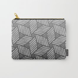 Japanese style wood carving pattern in gray Carry-All Pouch