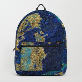 Indigo Teal and Gold Ocean Backpack