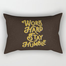 Work Hard Stay Humble hand lettered modern hand lettering typography quote wall art home decor Rectangular Pillow
