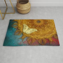 Magical fire mandala and gold butterfly Rug