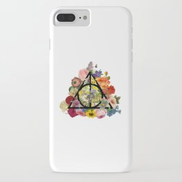 Floral Deathly Hallows - Black iPhone Case