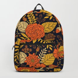 Retro Orange, Yellow, Brown, & Navy Floral Pattern Backpack