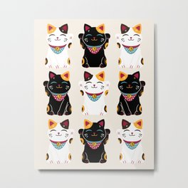 Maneki Neko - Lucky Cats Metal Print