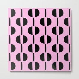 Modernist Geometric Pattern 429 Pink and Black Metal Print