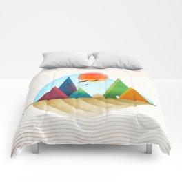 076 - Autumn leaf minimal landscape IV Comforters
