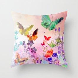 Blush Butterflies & Flowers Throw Pillow