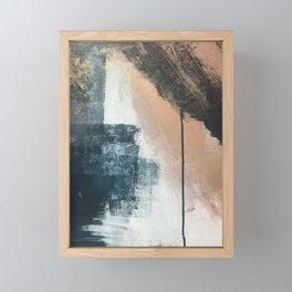 Honey 1: a pretty, minimal abstract in midnight blue, rose gold, and white Framed Mini Art Print