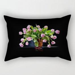 Pink tulips bouquet in glass vase Rectangular Pillow