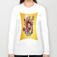 super mario Long Sleeve T-shirts featuring super mario  , super mario  games, super mario  blanket, super mario  duvet cover, super mario  show by ira gora