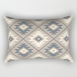 Aztec Symbol Stylized Pattern Blue Cream Sand Rectangular Pillow