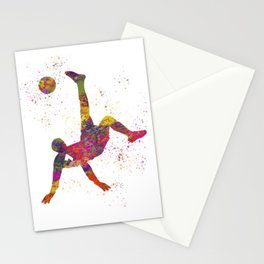 Soccer player isolated 09 in watercolor Stationery Cards