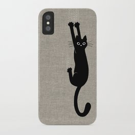 Black Cat Hanging On iPhone Case