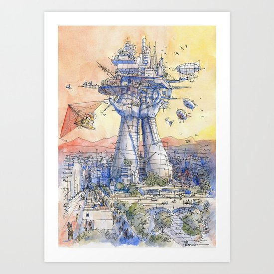 The Airship Station Art Print