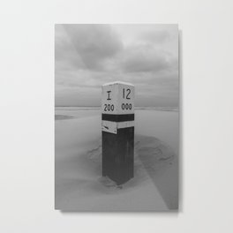 Beach pole 12 - Ameland North Beach photo | peaceful black and white landscape travel photography art print Metal Print
