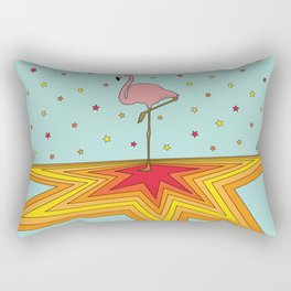 Starry Dancing Flamingo on Turquoise Background Rectangular Pillow