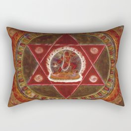 Vajrayogini stands in the center of two crossed red triangles Rectangular Pillow