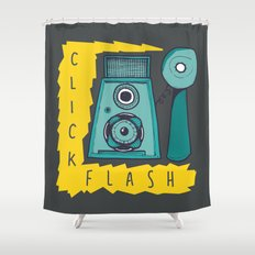 Vintage Camera | Grey Shower Curtain