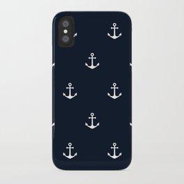 Dark Blue Anchor Pattern iPhone Case