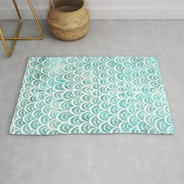 Watercolor Mermaid Turquoise Rug