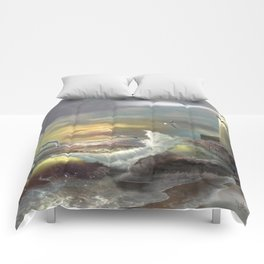 Michigan Lighthouse with an Angry Sea Comforters