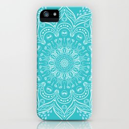 Teal mandala iPhone Case