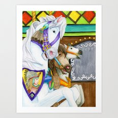 Carousel Horse - Perpetual Race Art Print