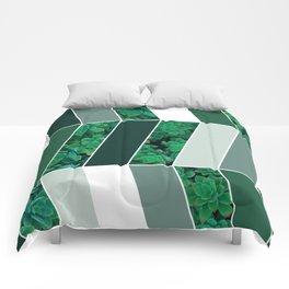 Green Herringbone #society6 #green #succulent Comforters