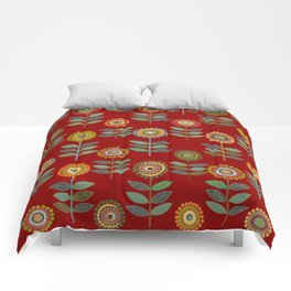 Floral seamless pattern with rows of flowers Comforters