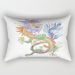 Bright and Vivid Chinese Fire Dragon Vector Rectangular Pillow