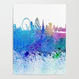 London Skyline Silhouette Impressionistic Blast Poster
