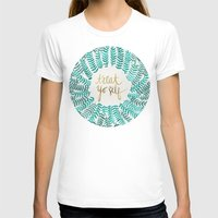 gold T-shirts featuring Treat Yo Self – Gold & Turquoise by Cat Coquillette