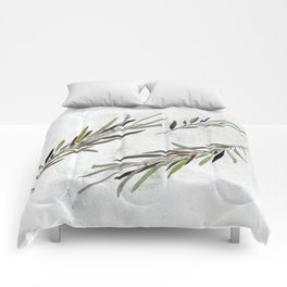 Eucalyptus Leaves White Comforters