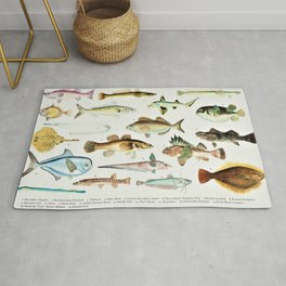 Illustrated Colorful Southern Pacific Ocean Exotic Game Fish Identification Chart No. 4 Rug