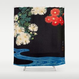 Ohara Koson Chrysanthemums and Running Water 1931 Japanese Woodblock Print Vintage Historical Shower Curtain