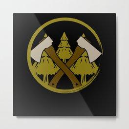 Lumberjack Axes Forest Metal Print