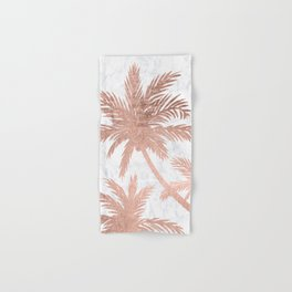 Tropical simple rose gold palm trees white marble Hand & Bath Towel