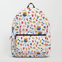 Summer BBQ Pattern - Blue Red Yellow Backpack
