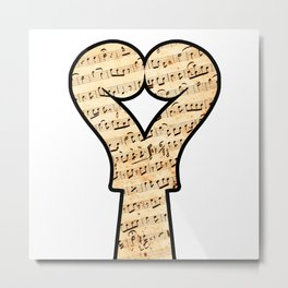 Music lover with two violins in heart shape and musical notes Metal Print
