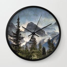 The Three Sisters - Canadian Rocky Mountains Wall Clock