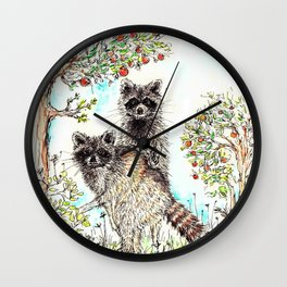 Raccoons in the Forest (color edition) Wall Clock