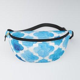 Watercolor quatrefoil pattern in bright blue Fanny Pack