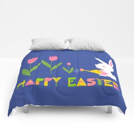 Happy Easter - White Bunny and Pink Tulips on Dark Blue Comforters