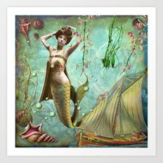 Life in the deep blue sea Art Print