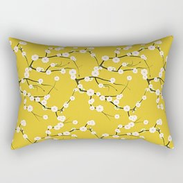 Cream Cherry Blossom Branches on Gold Rectangular Pillow