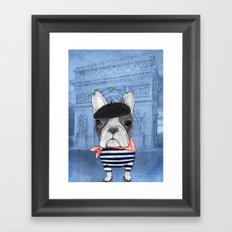 Frenchie with Arc de Triomphe Framed Art Print