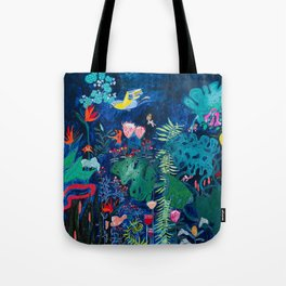 Brightly Rainbow Tropical Jungle Mural with Birds and Tiny Big Cats Tote Bag